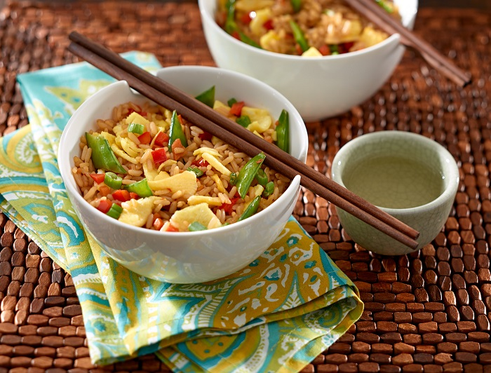 bowl of veggie and egg fried rice