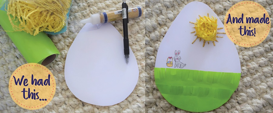 On the left, craft items, on the right, a crafted paper egg