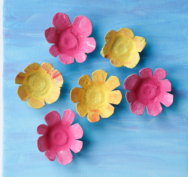 egg carton flowers painted