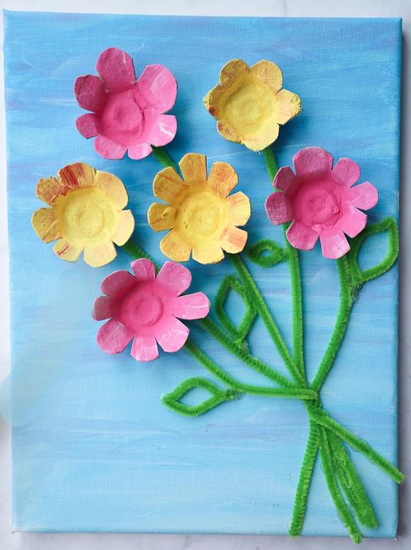 egg carton bouquet