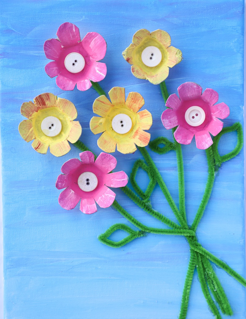 flowers egg cartons