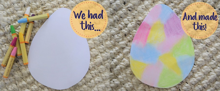 On left, crafts, on the right, crafted paper egg