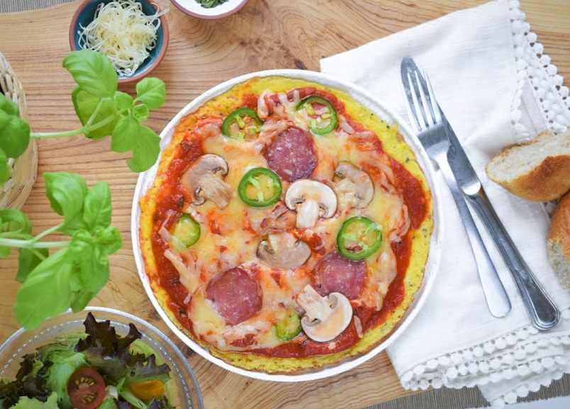 Omelette with pizza toppings