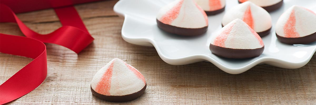 Chocolate dipped peppermint meringues dessert