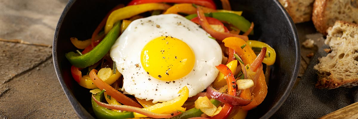 Fried Eggs with a Medley of Sweet Peppers